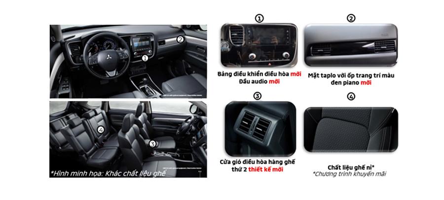 Những điểm nâng cấp nội thất của Mitsubishi Outlander 2020 phiên bản 2.0 CVT