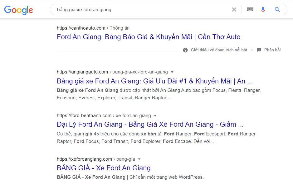 Các từ khóa được SEO lên top cao của google - Điểm chất lượng khi chạy google ads đã được tối ưu.